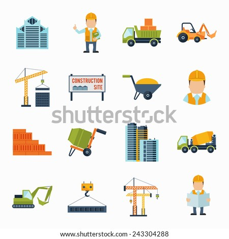 Construction worker building industrial tools icons flat set isolated vector illustration - stock vector
