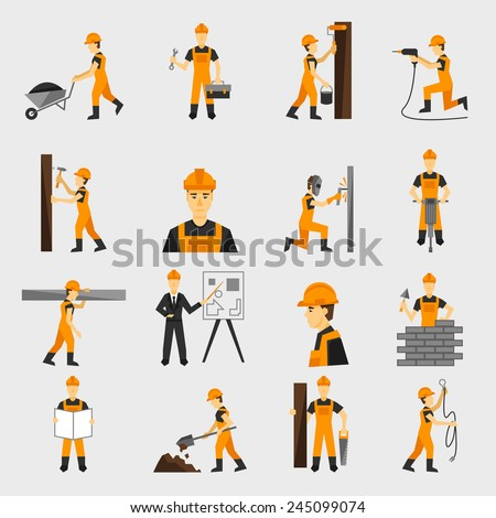 Construction worker character building with hand hammer drill in helmet flat icons set abstract isolated vector illustration - stock vector