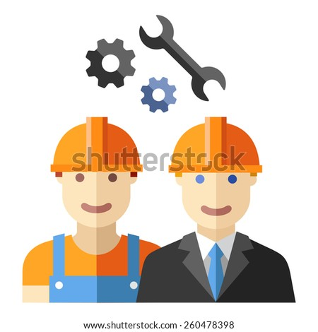 construction worker flat avatar set - stock vector