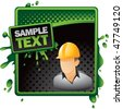 construction worker green and black halftone grungy banner - stock vector