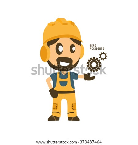 Construction worker hold zero accidents in gear importance of safety. safety first, health and safety, vector illustrator - stock vector