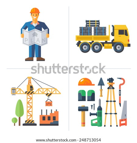 Construction: worker holding a plan, crane building a house, truck and tools. Vector flat illustrations - stock vector