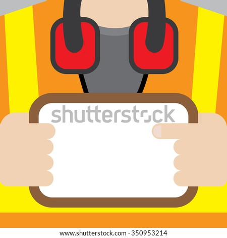 Construction worker holding blank whiteboard. - stock vector