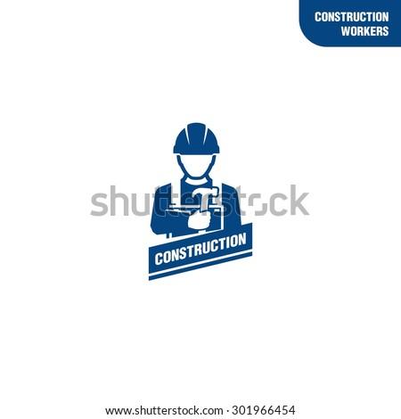 Construction worker holding hammer - stock vector