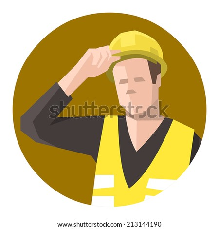 Construction worker holding hardhat - stock vector