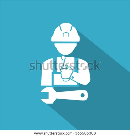Construction worker holding wrench vector - stock vector