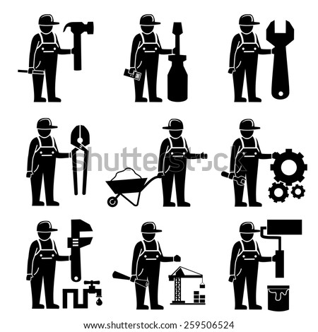 Construction worker icons.vector - stock vector
