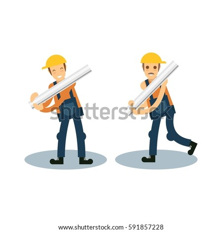 Construction worker illustration. Person in construction, property work, civil engineer theme.