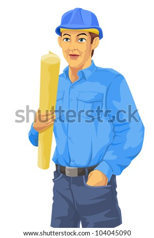 Construction Worker, in Blue Shirt, Trousers, Hard Hat, Holding a Plan, vector illustration - stock vector