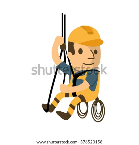 construction worker in safety protective equipment, health and safety, safety first, vector illustrator - stock vector