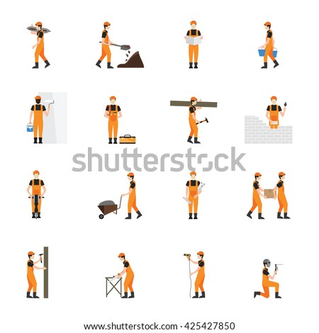 Construction worker man in helmet  isolated on white background, character flat icons set vector illustration.