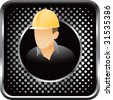 construction worker on black halftone web button - stock vector