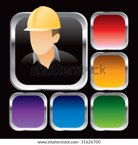 construction worker on square colored web buttons