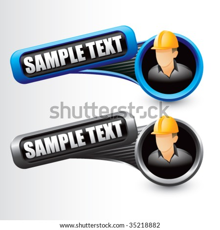 construction worker on tilted multi color banners - stock vector
