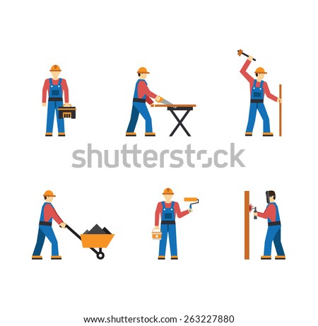 Construction worker people silhouettes icons flat set isolated vector   - stock vector