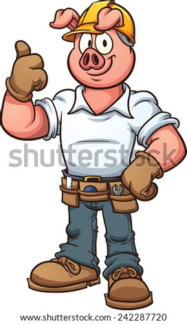 Construction worker pig. Vector clip art illustration with simple gradients. All in a single layer. - stock vector