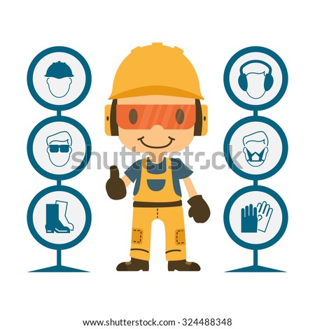 Construction worker repairman thumb up, safety first, health and safety warning signs, vector illustrator - stock vector