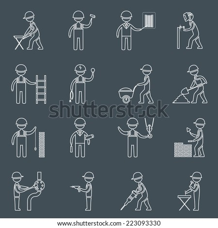 Construction worker service profession silhouettes icons outline set isolated vector illustration - stock vector