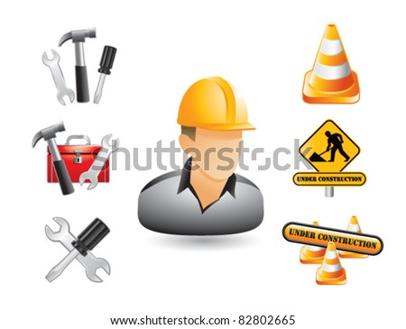 Construction worker, signs, and tools on white background - stock vector