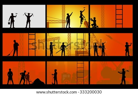 Construction worker silhouette at work background. vector