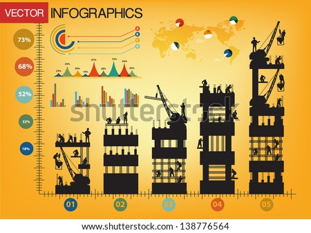 Construction worker silhouette at work, Creative Infographics charts and graphs vector illustration template design - stock vector