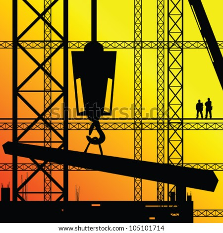 construction worker supervise the work illustration on sunshine - stock vector