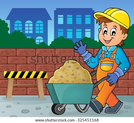 Construction worker theme image 2 - eps10 vector illustration. - stock vector