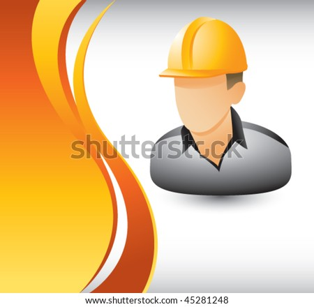 construction worker vertical orange wave - stock vector