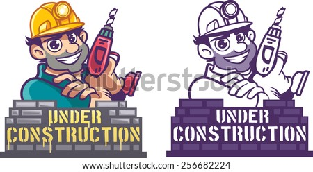 Construction worker with Drill - stock vector