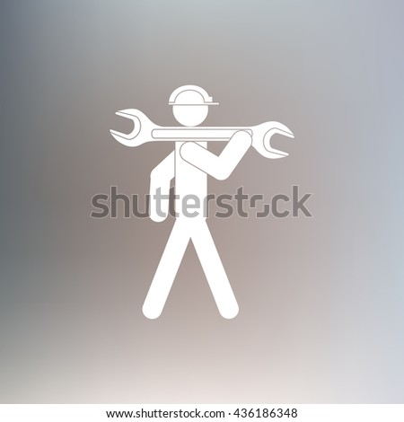Construction Worker With Wrench Vector icon - stock vector