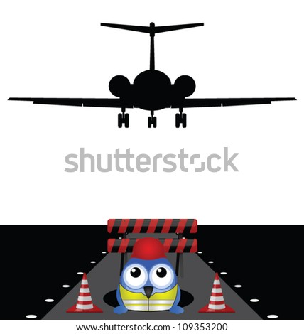 Construction worker working on runway isolated on white background - stock vector