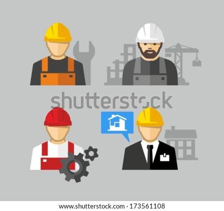 Construction workers - stock vector