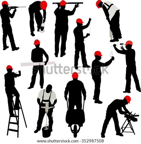 construction workers silhouettes collection - vector - stock vector
