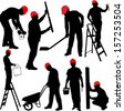 construction workers silhouettes - vector - stock