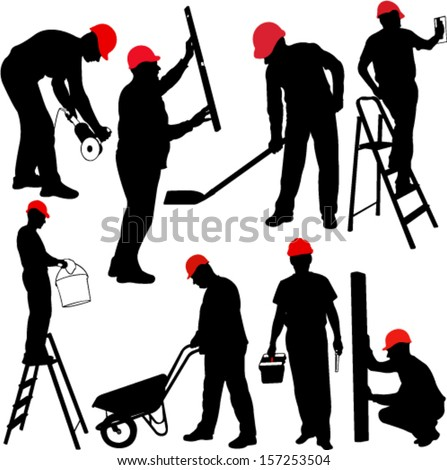 construction workers silhouettes - vector - stock vector