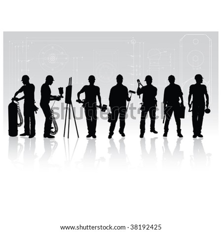 Construction workers silhouettes with different tools on technical background - stock vector