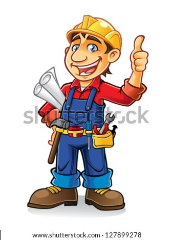 construction workers stand by holding the paper work and tools with a thumbs-up and a big smile - stock vector
