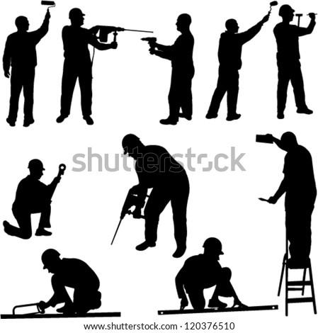 construction workers - vector - stock vector