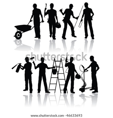 Construction workers vector silhouettes - stock vector