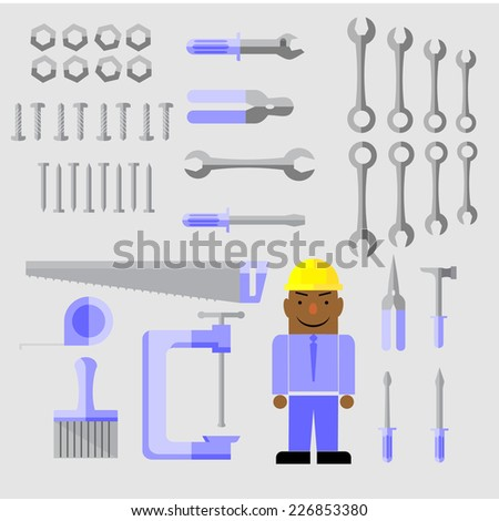 Construction Workers With Complete Equipment  - stock vector