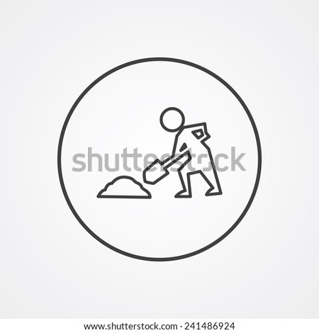 construction works outline thin symbol, dark on white background, logo editable, creative template  - stock vector