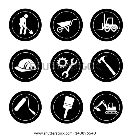 constructions icons over white background vector illustration - stock vector