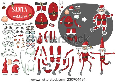 Constructor or Santa Claus. Faces,body part.hats,mustache,beard,glasses to create different Santa Claus. Easy to make your Santa.Humorous hipster Christmas,new year.Vector set - stock vector