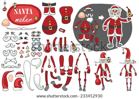 Constructor or Santa Claus. Faces,body part.hats,mustache,beard,glasses to create different Santa Claus. Easy to make your Santa.Humorous Christmas,new year.Vector set - stock vector