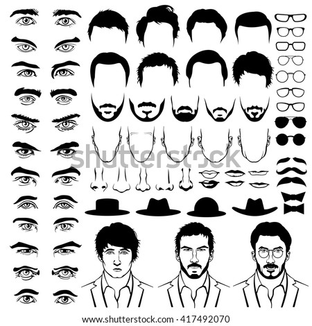 Constructor with men hipster haircuts, glasses, beards, mustaches. Man fashion. Vector illustration in flat style - stock vector