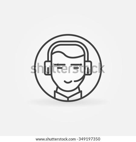Consultant or operator icon - vector call center symbol or logo element - stock vector