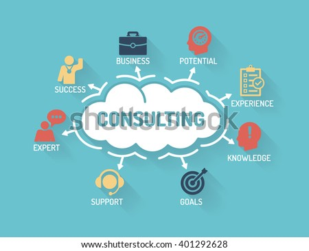 Consulting - Chart with keywords and icons - Flat Design - stock vector