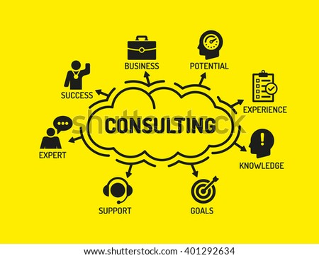 Consulting. Chart with keywords and icons on yellow background - stock vector