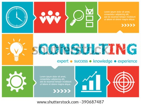 Consulting design illustration concepts for business, consulting, management, career. Consulting  concepts for web banner and printed materials.