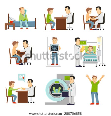 consulting practitioner doctor and patient in hospital set flat decorative icons isolated vector illustration - stock vector